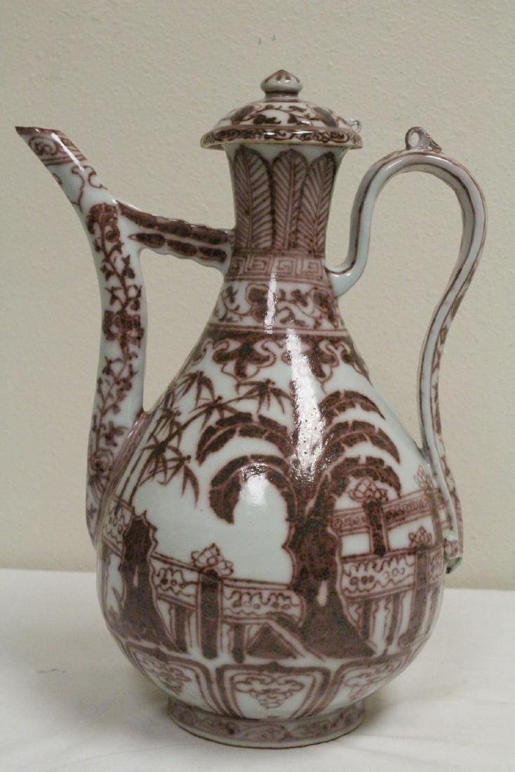 Chinese red and white porcelain wine server - 3