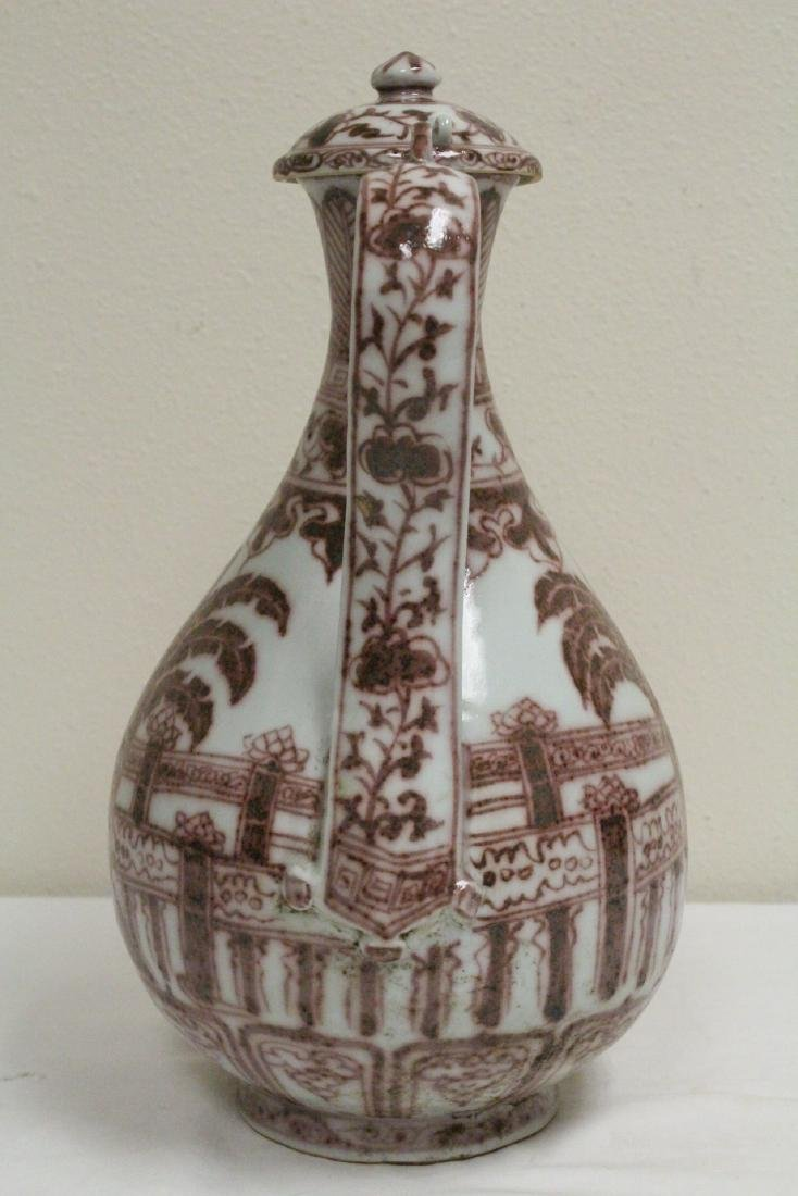 Chinese red and white porcelain wine server - 4