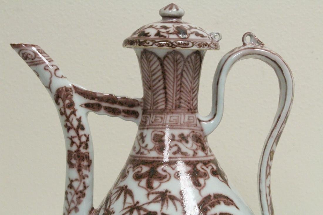 Chinese red and white porcelain wine server - 9