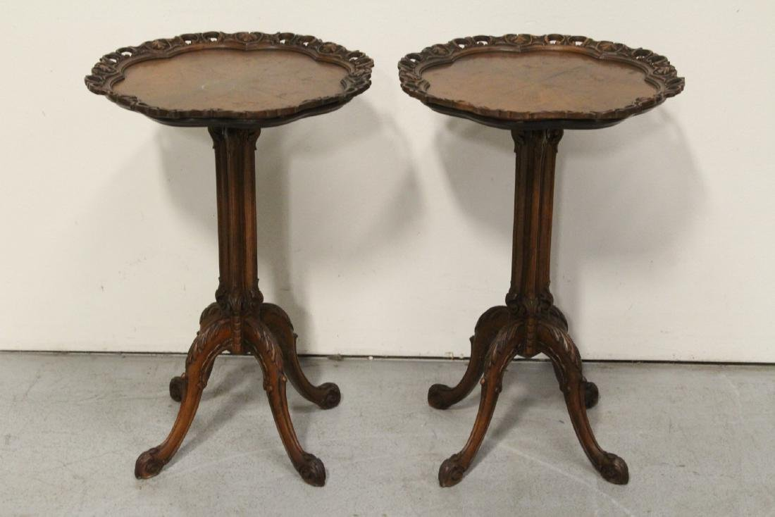 Pair ornate pie crust style mahogany lamp tables