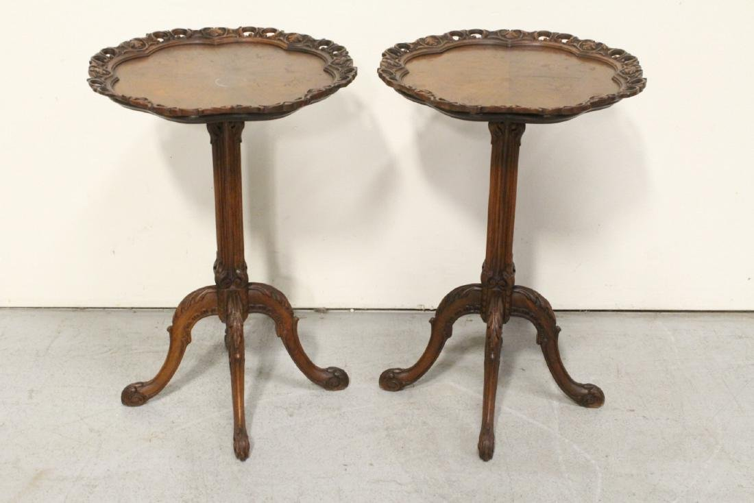 Pair ornate pie crust style mahogany lamp tables - 2