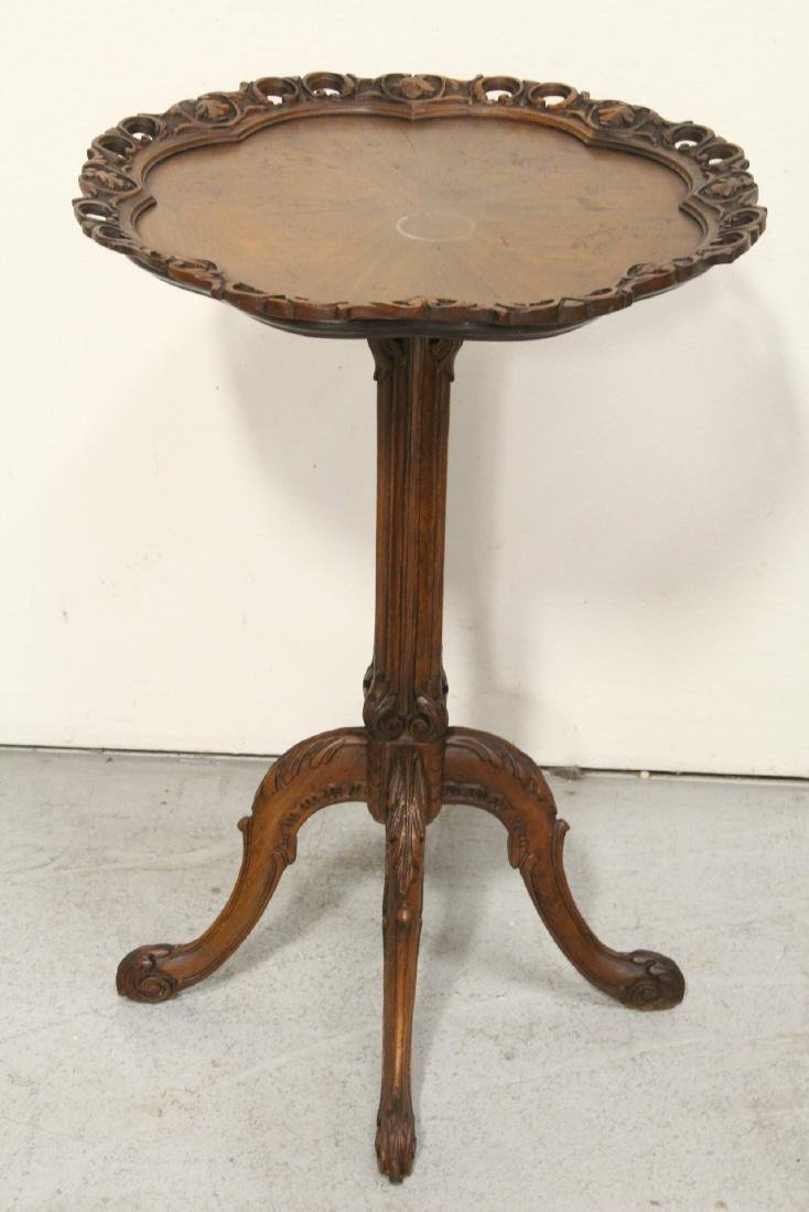 Pair ornate pie crust style mahogany lamp tables - 4