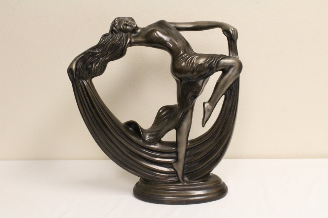 Art deco painted pottery sculpture of dancing lady
