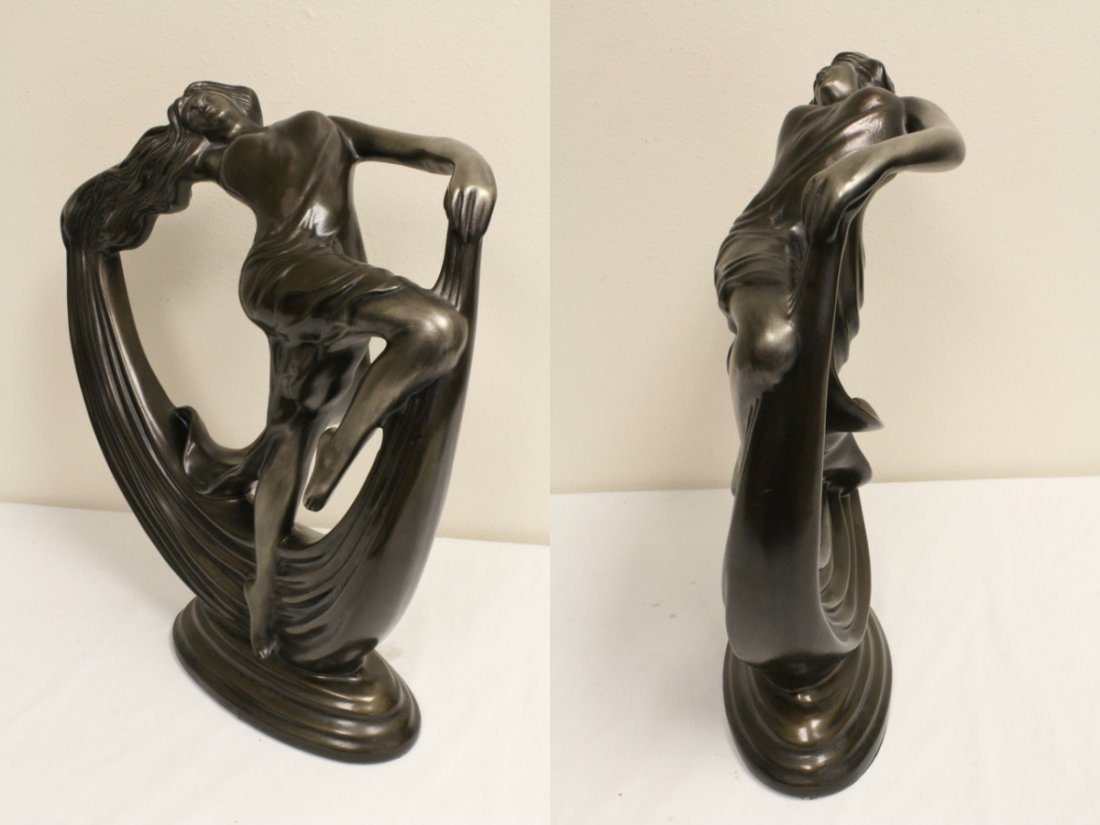 Art deco painted pottery sculpture of dancing lady - 6