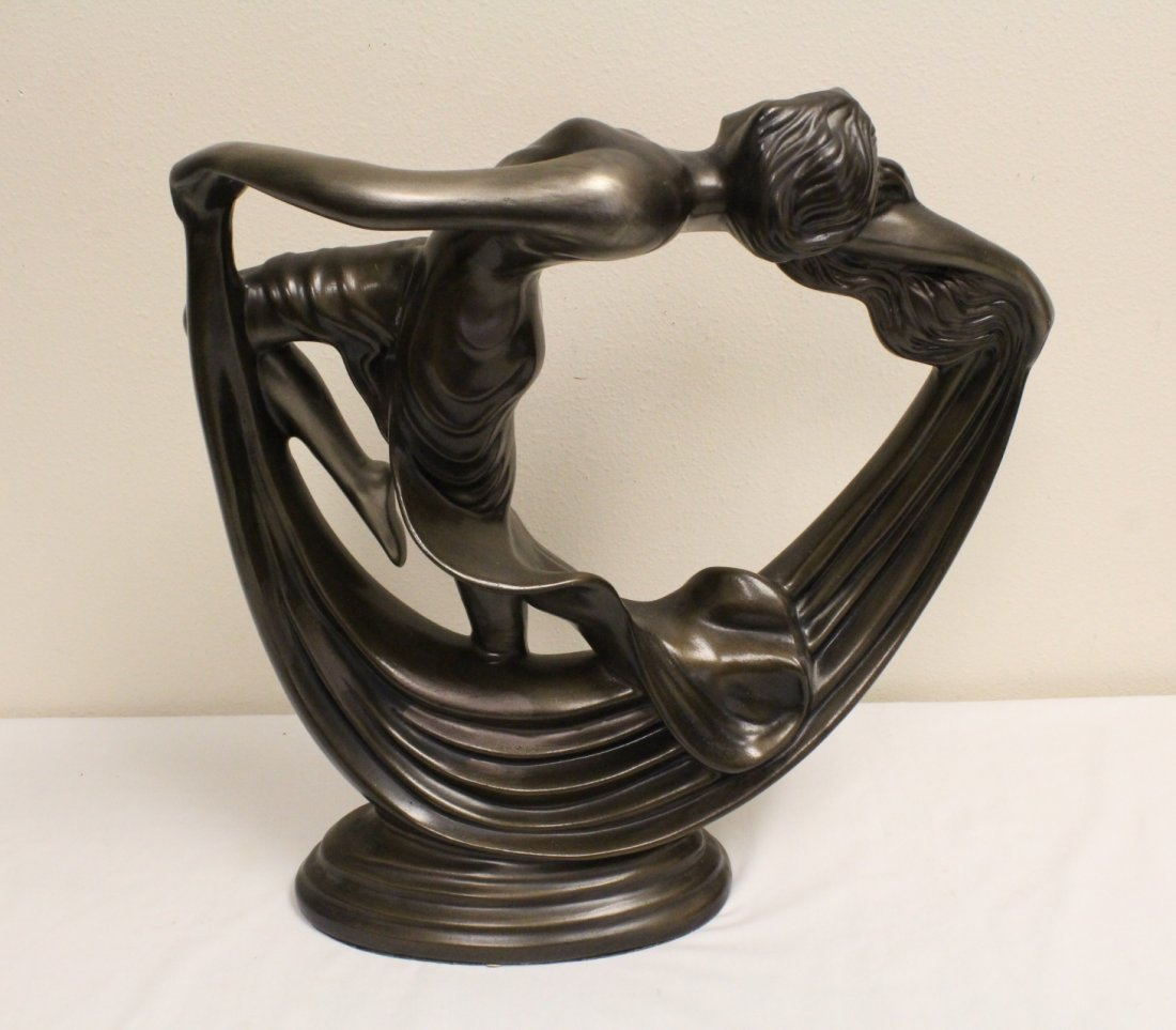Art deco painted pottery sculpture of dancing lady - 7