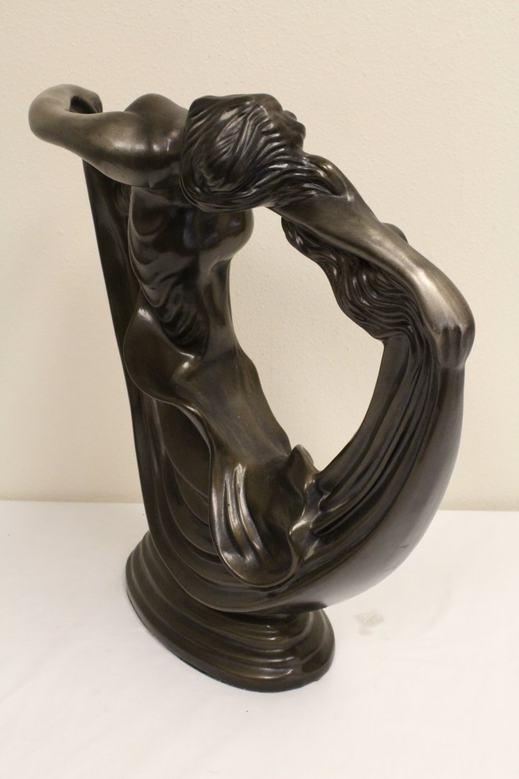 Art deco painted pottery sculpture of dancing lady - 8
