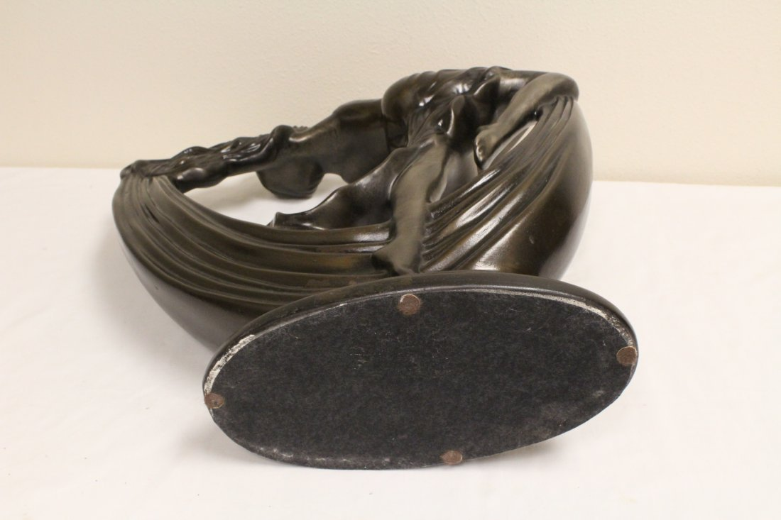 Art deco painted pottery sculpture of dancing lady - 9