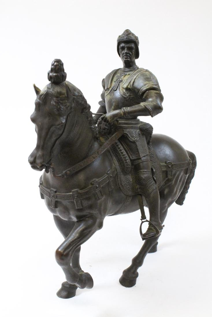 Antique Russian bronze sculpture of soldier on horse