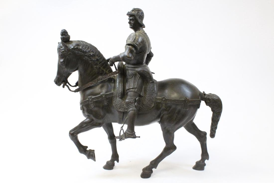 Antique Russian bronze sculpture of soldier on horse - 2