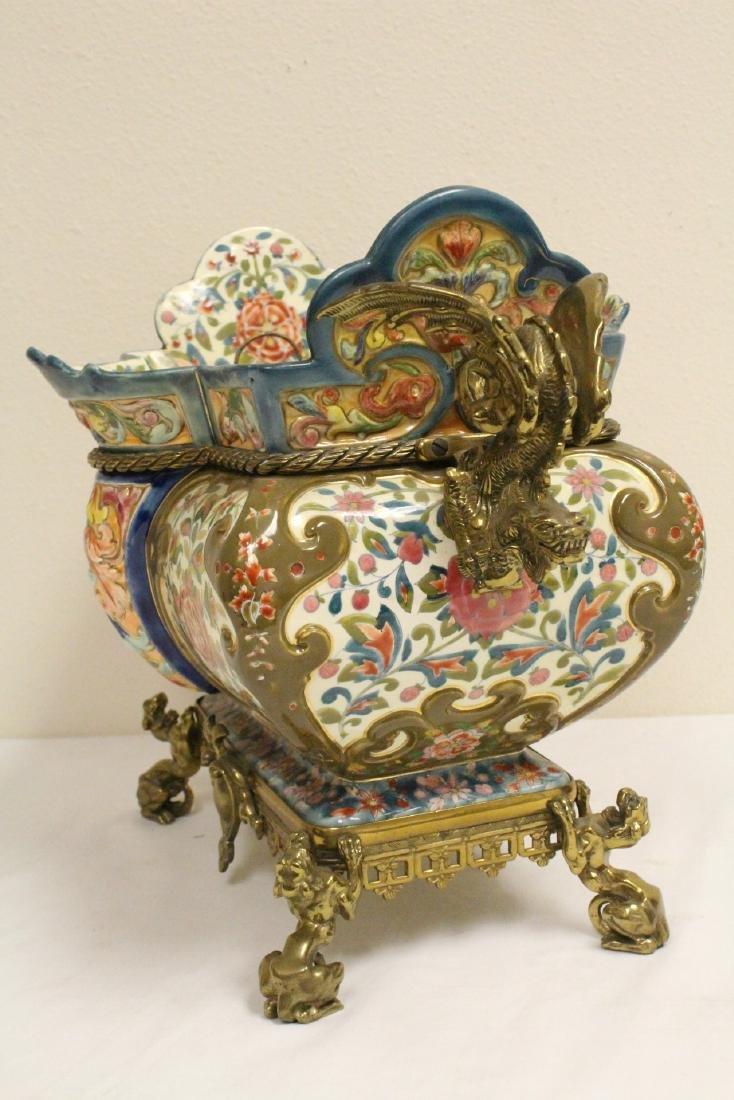 Austrian 19th c. hand painted porcelain planter - 2