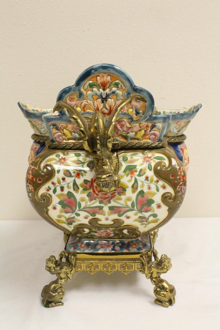 Austrian 19th c. hand painted porcelain planter - 4