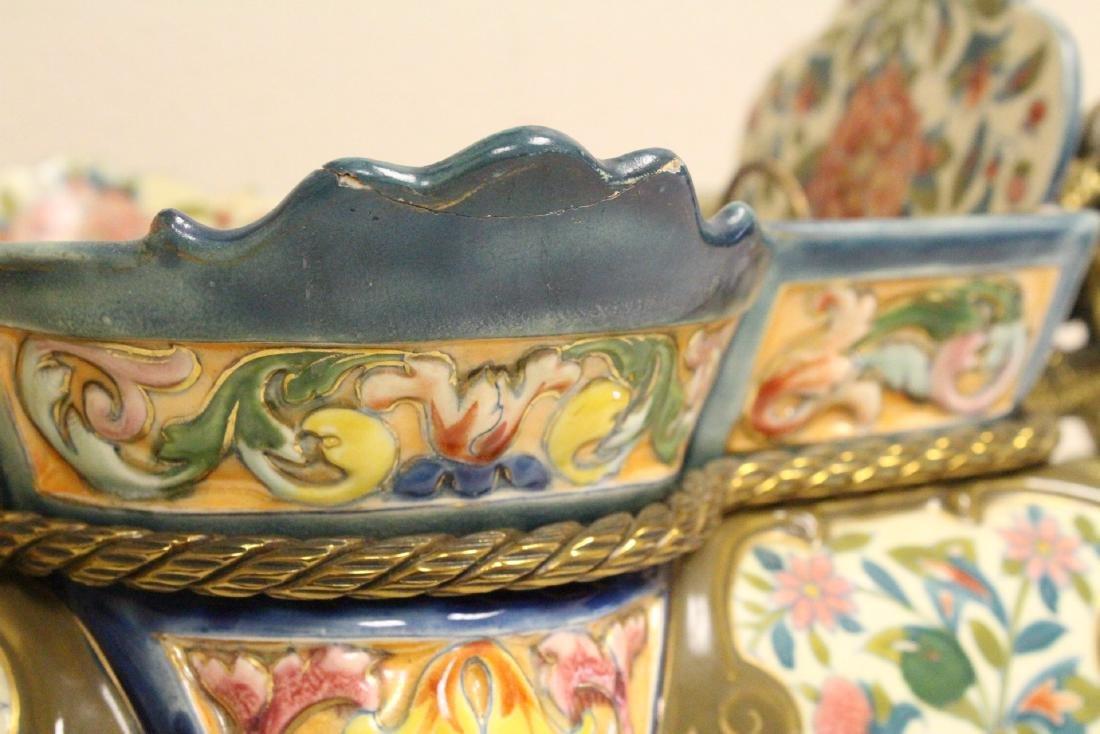 Austrian 19th c. hand painted porcelain planter - 8