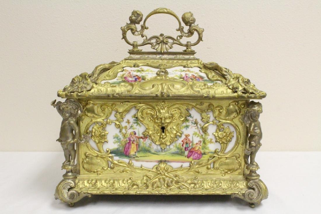 Austrian 19th c. jewelry box w/ Dresden plaques