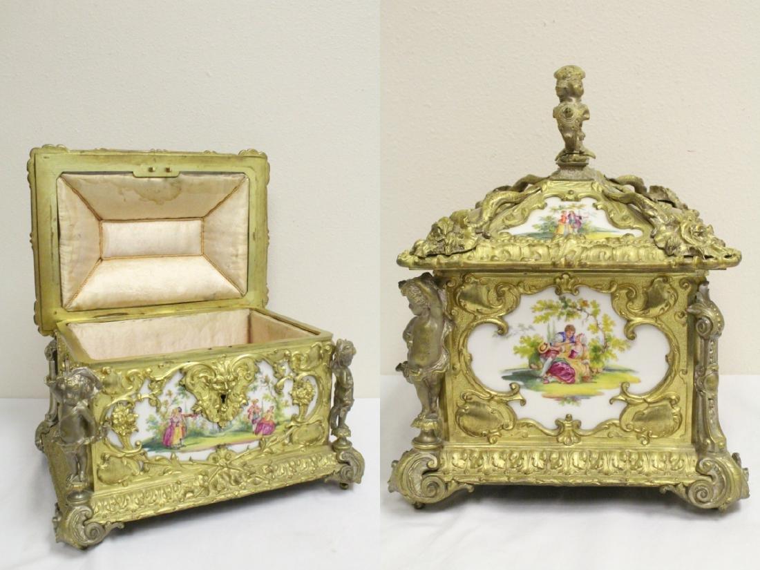 Austrian 19th c. jewelry box w/ Dresden plaques - 2