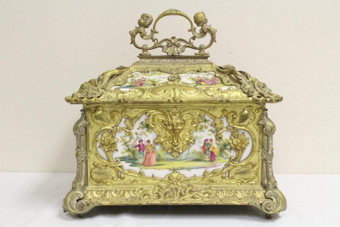 Austrian 19th c. jewelry box w/ Dresden plaques - 4