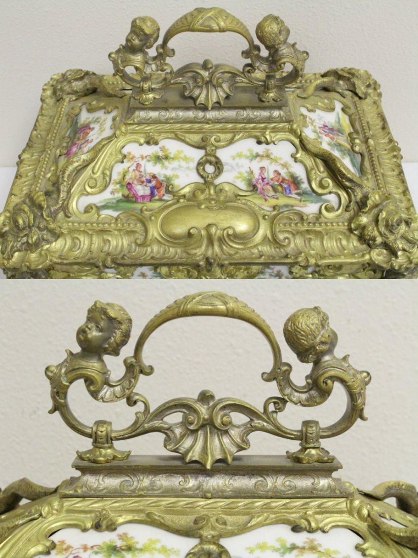 Austrian 19th c. jewelry box w/ Dresden plaques - 7