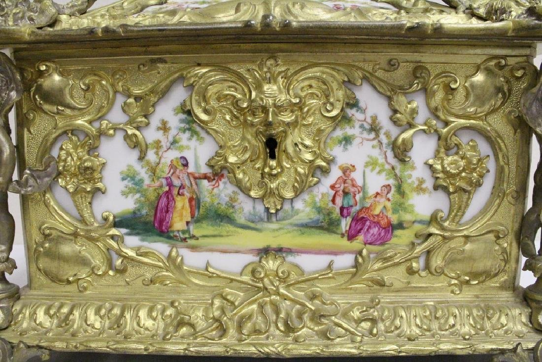 Austrian 19th c. jewelry box w/ Dresden plaques - 8