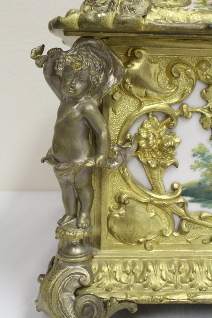 Austrian 19th c. jewelry box w/ Dresden plaques - 9