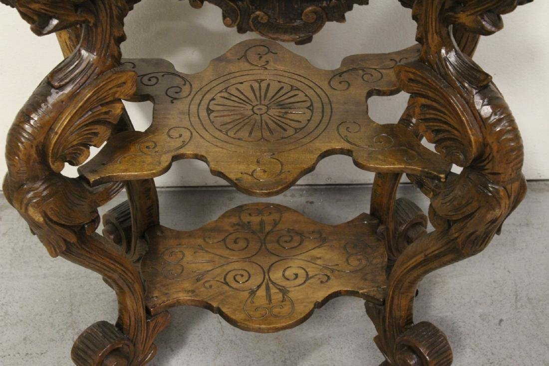 Antique 2-tier pedestal table with dragon - 10
