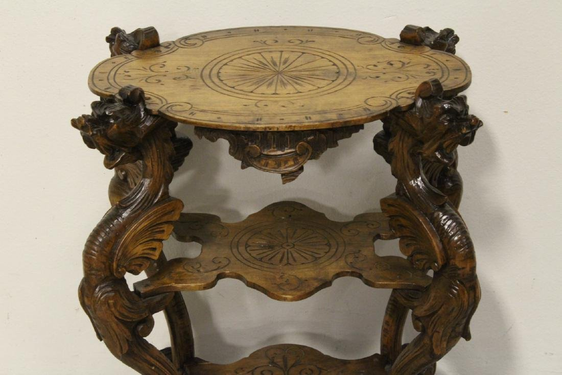 Antique 2-tier pedestal table with dragon - 2