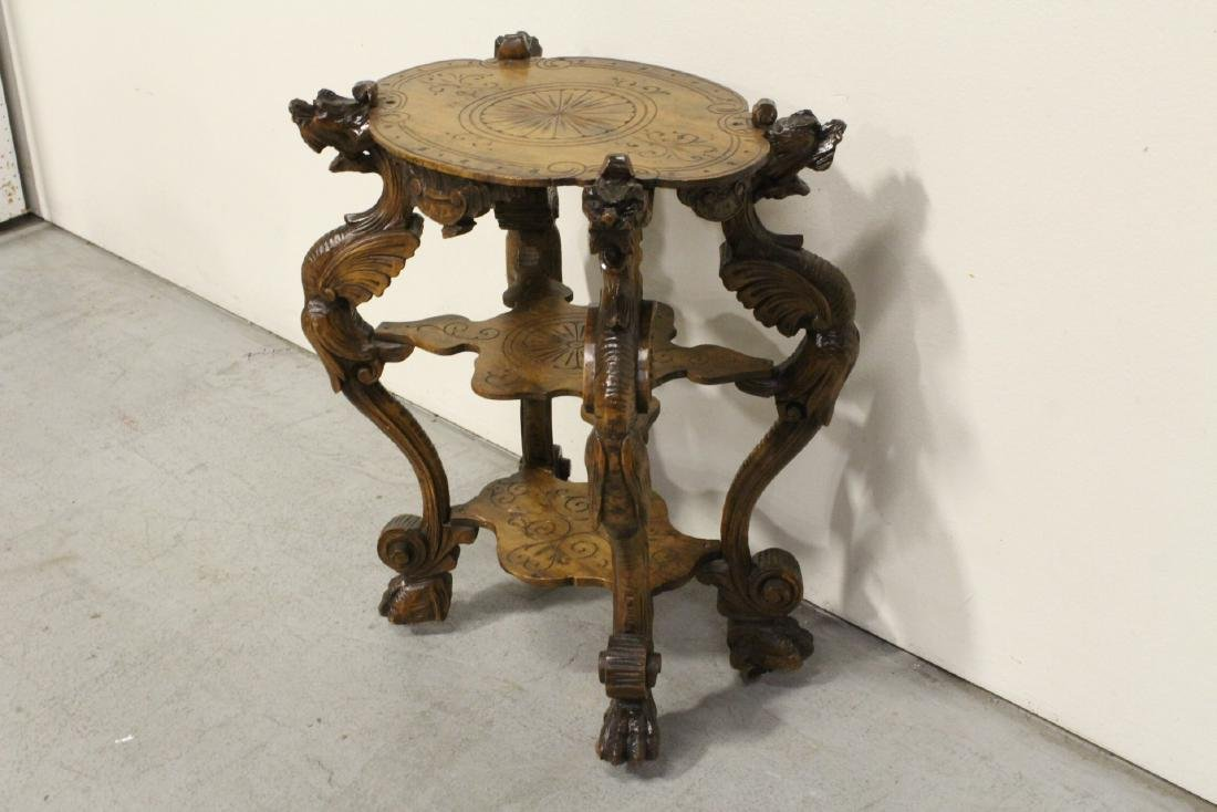 Antique 2-tier pedestal table with dragon - 4