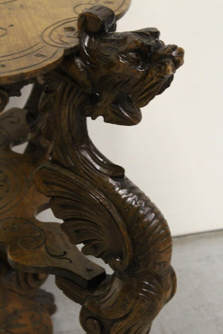Antique 2-tier pedestal table with dragon - 8