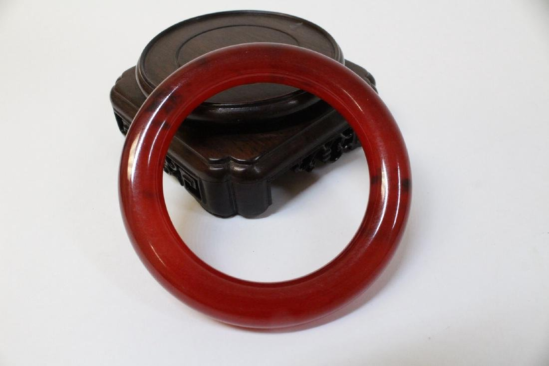 A rare Chinese red jadeite carved bangle bracelet - 3