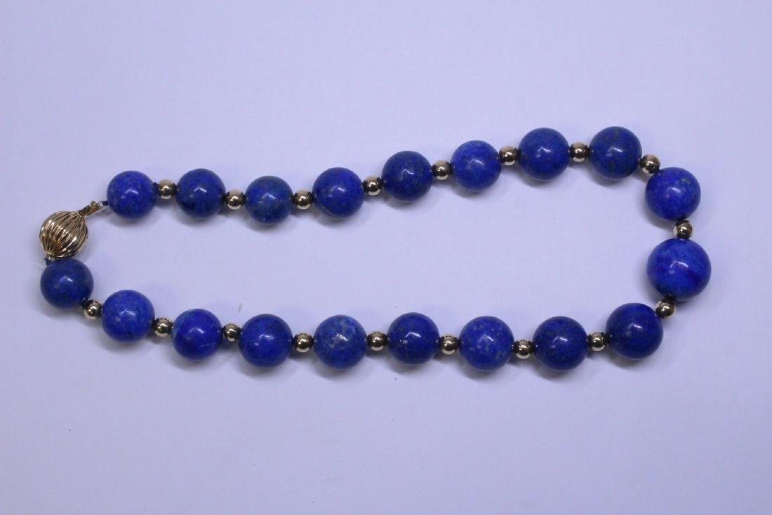 large natural color lapis bead necklace w/ 14K clasp