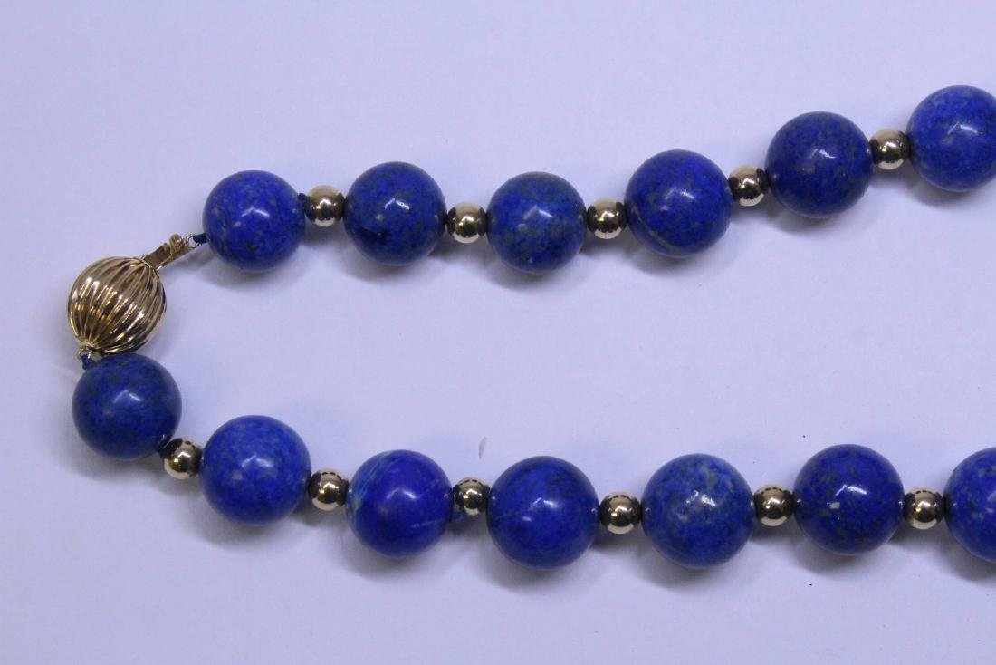 large natural color lapis bead necklace w/ 14K clasp - 2