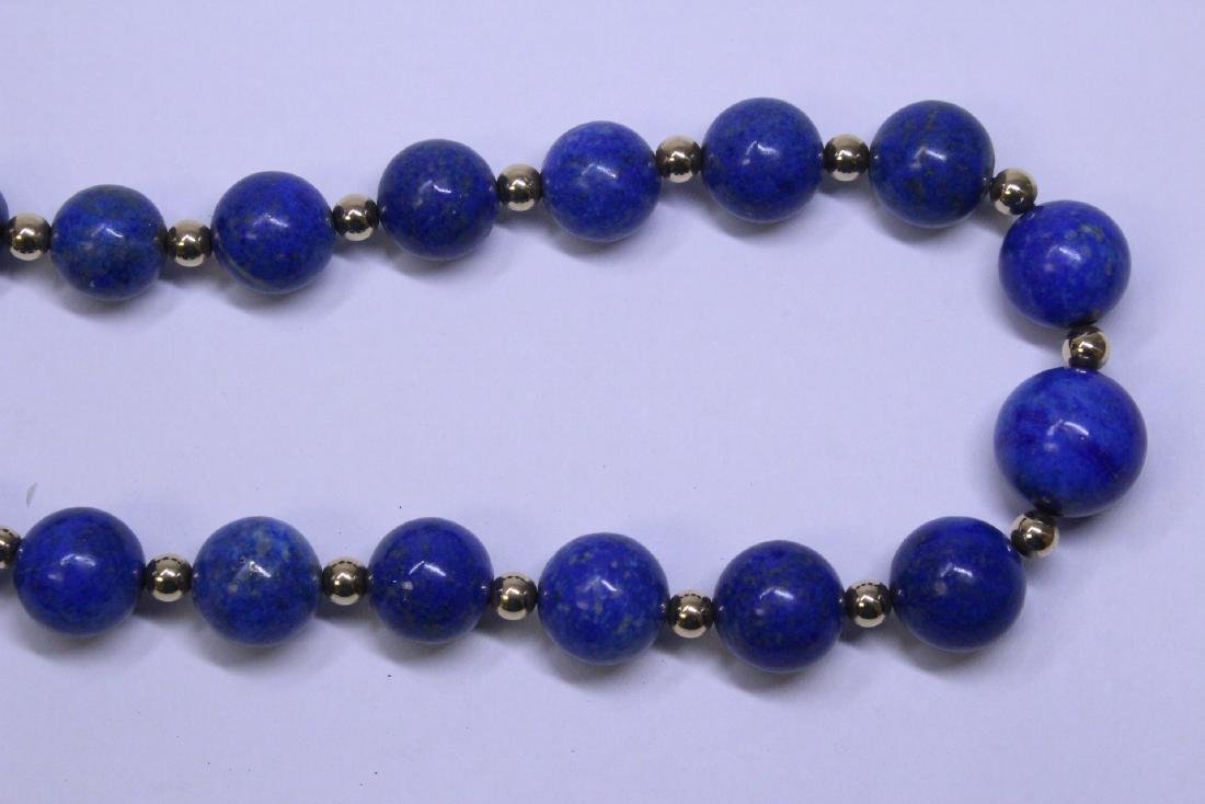 large natural color lapis bead necklace w/ 14K clasp - 3