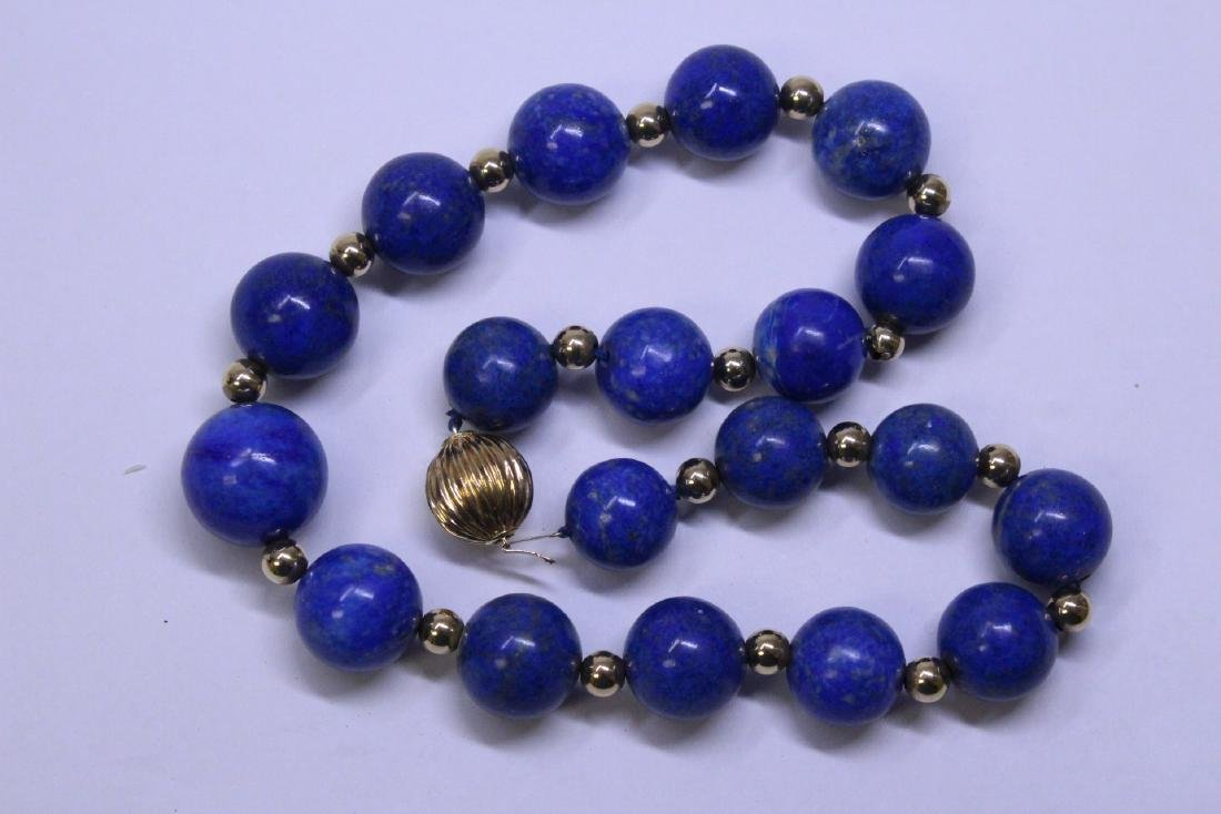 large natural color lapis bead necklace w/ 14K clasp - 4