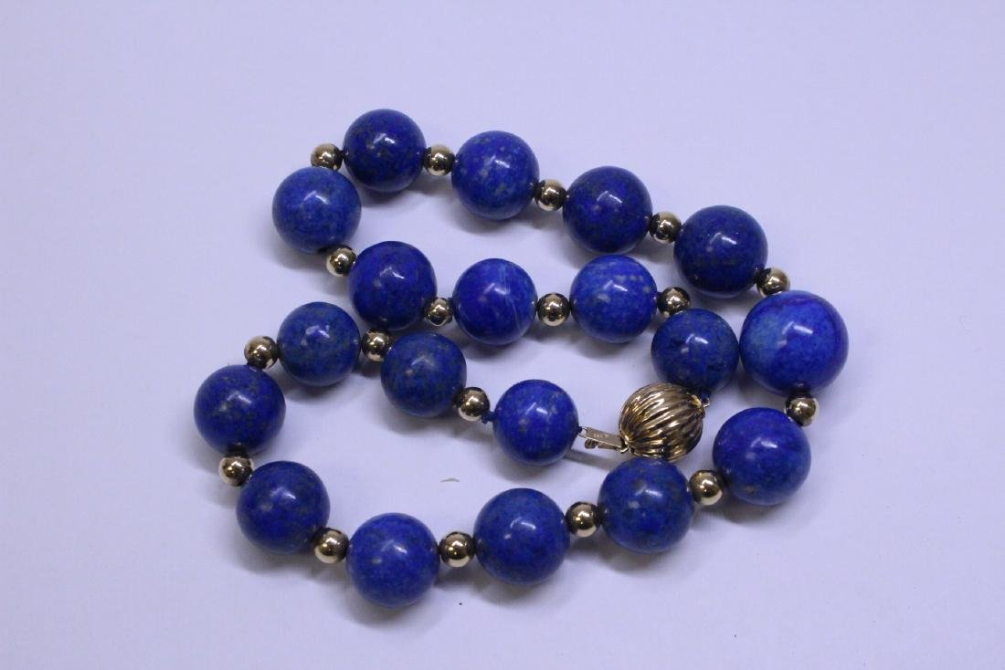 large natural color lapis bead necklace w/ 14K clasp - 5