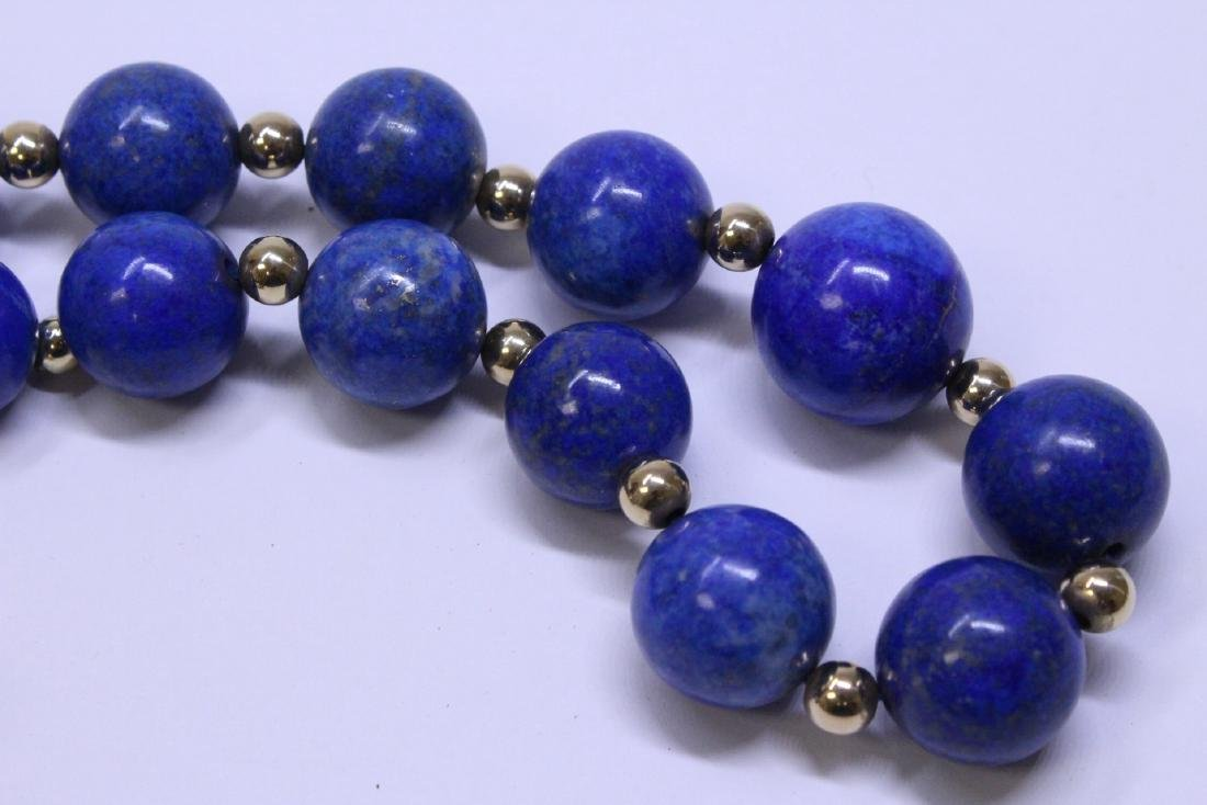 large natural color lapis bead necklace w/ 14K clasp - 7