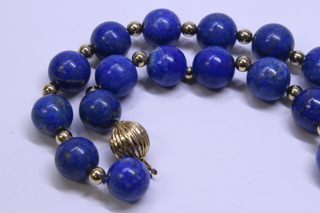 large natural color lapis bead necklace w/ 14K clasp - 8