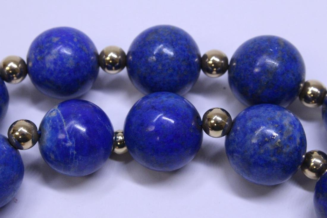 large natural color lapis bead necklace w/ 14K clasp - 9