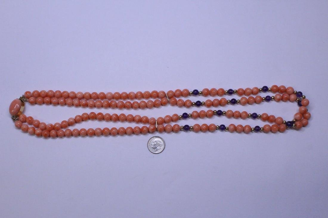 natural color coral bead necklace with 14K clasp