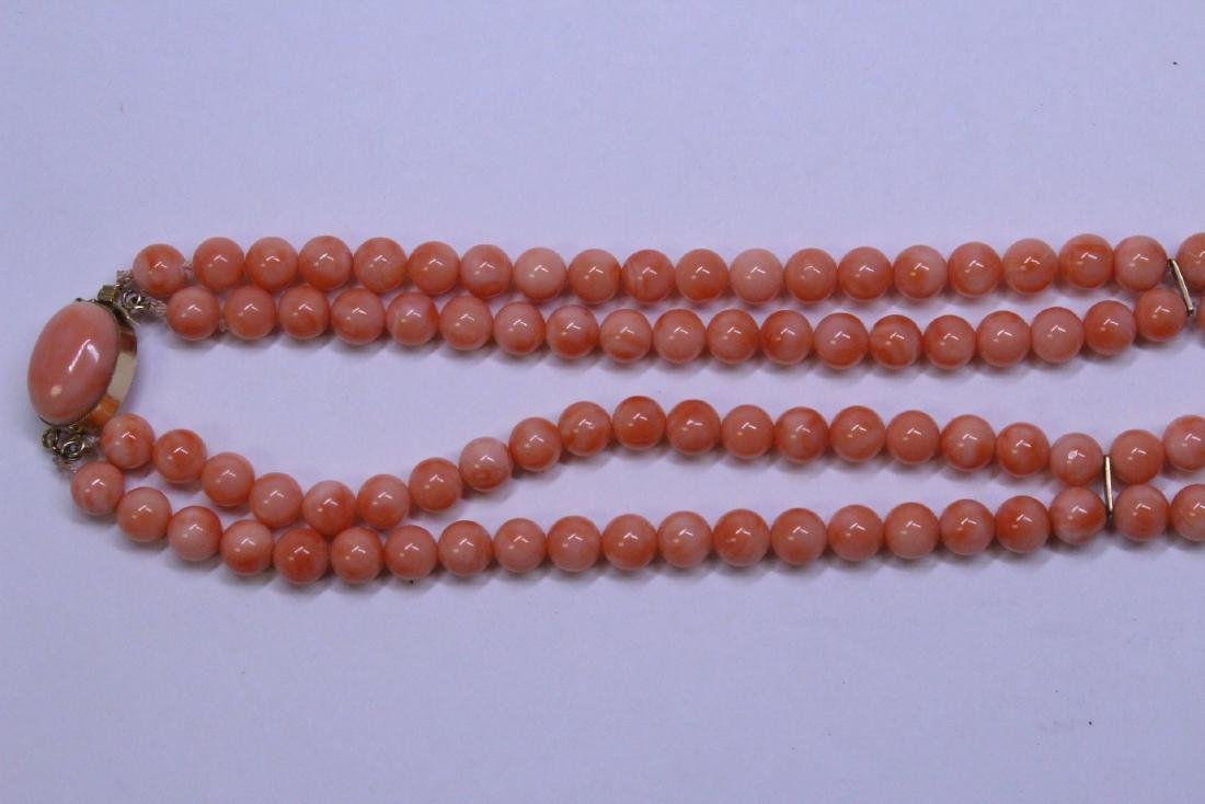 natural color coral bead necklace with 14K clasp - 2
