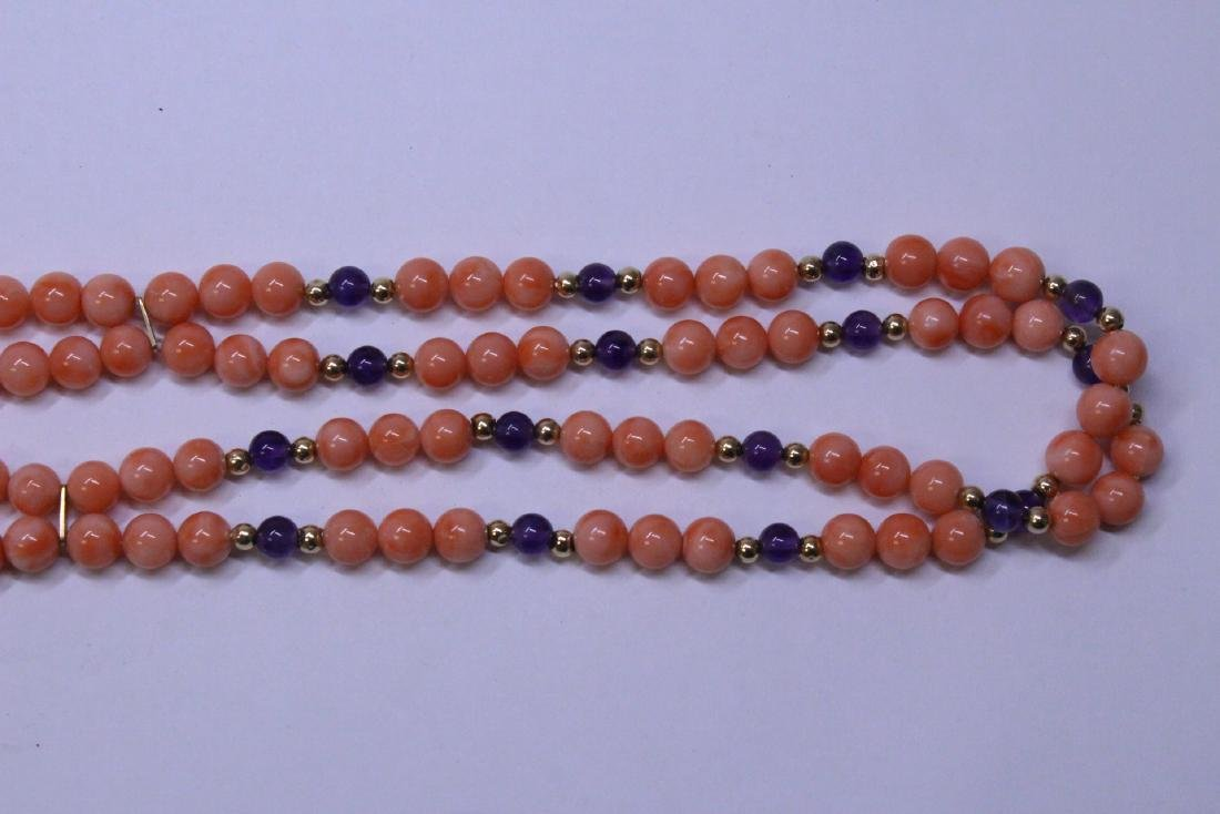 natural color coral bead necklace with 14K clasp - 3