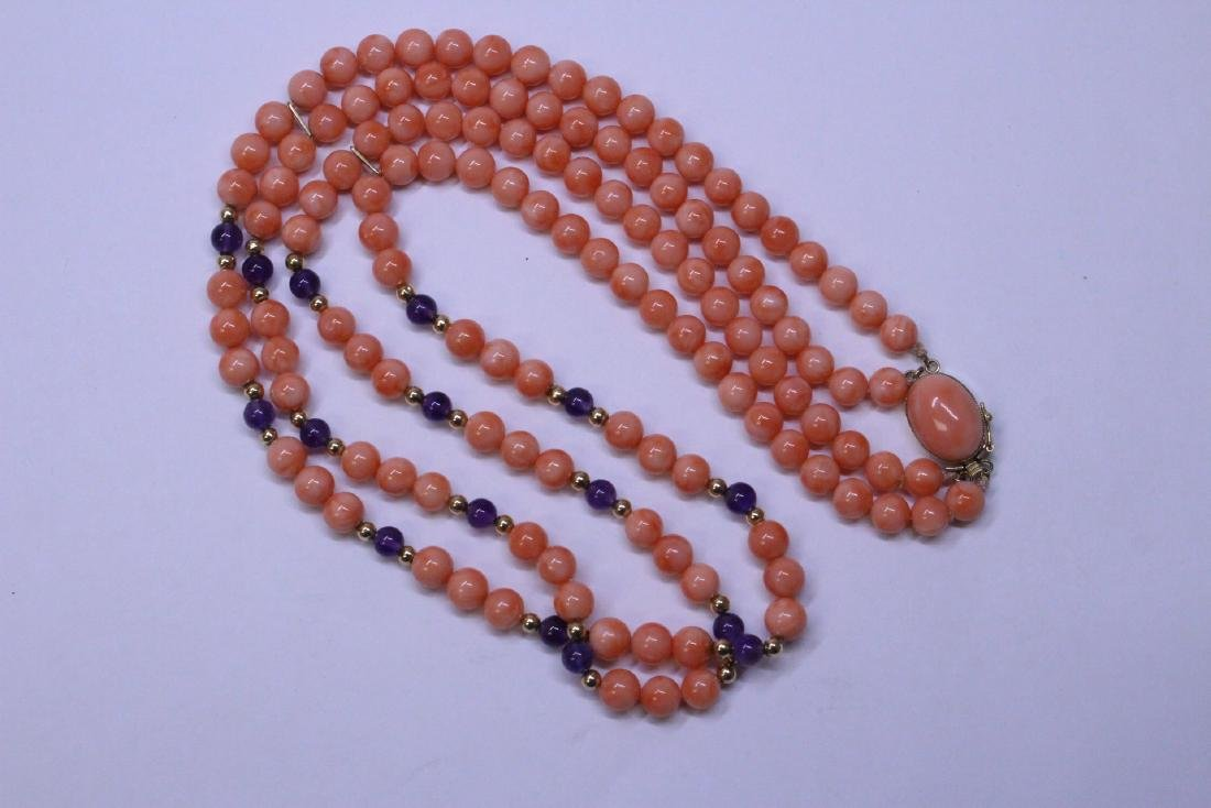 natural color coral bead necklace with 14K clasp - 4