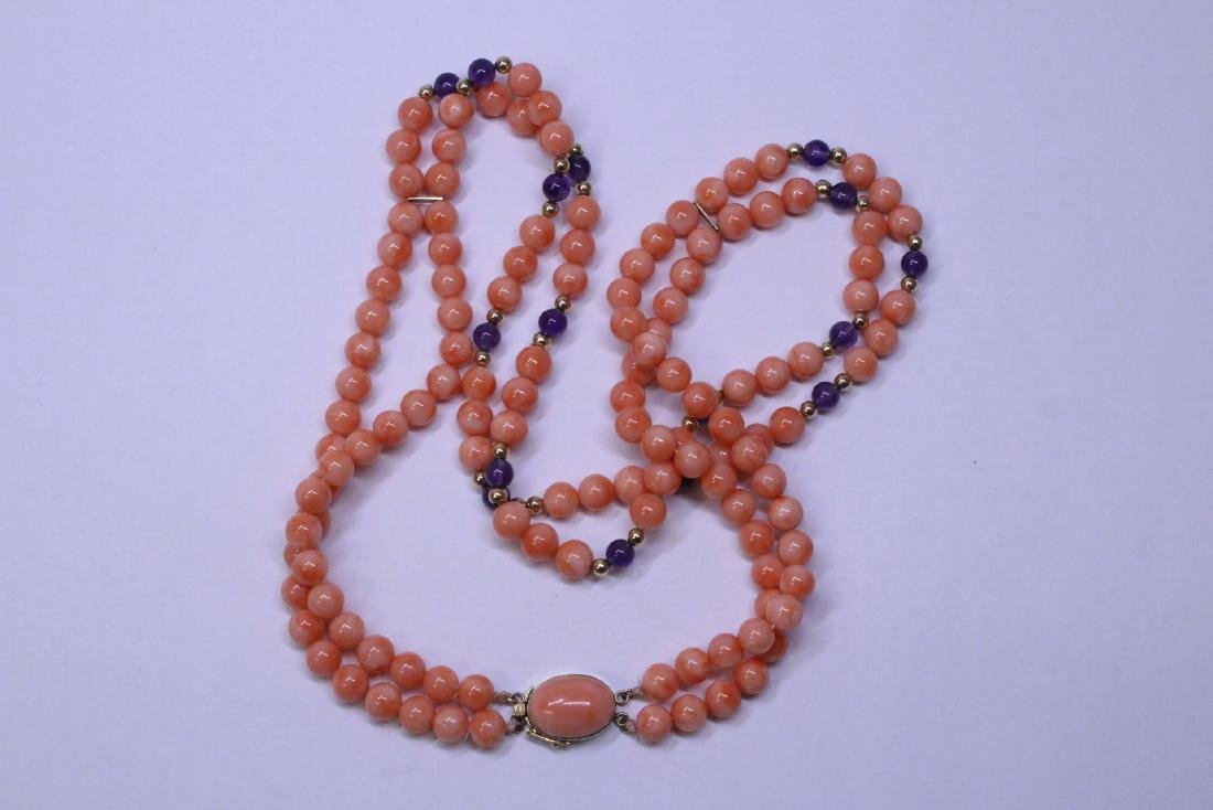natural color coral bead necklace with 14K clasp - 5