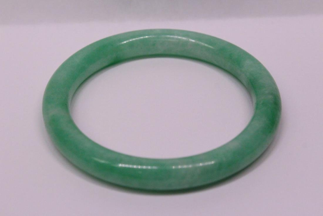 Chinese apple green jadeite bangle bracelet - 4