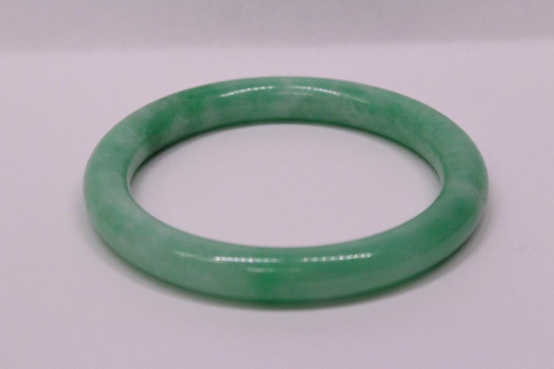 Chinese apple green jadeite bangle bracelet - 5