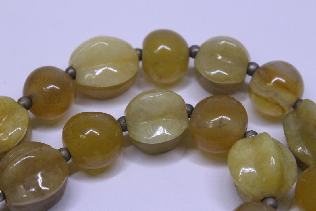 Chinese agate and jadeite(?) bead necklace - 10