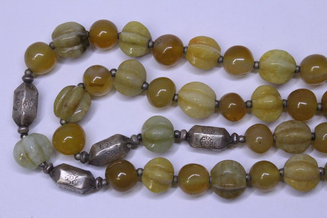 Chinese agate and jadeite(?) bead necklace - 8