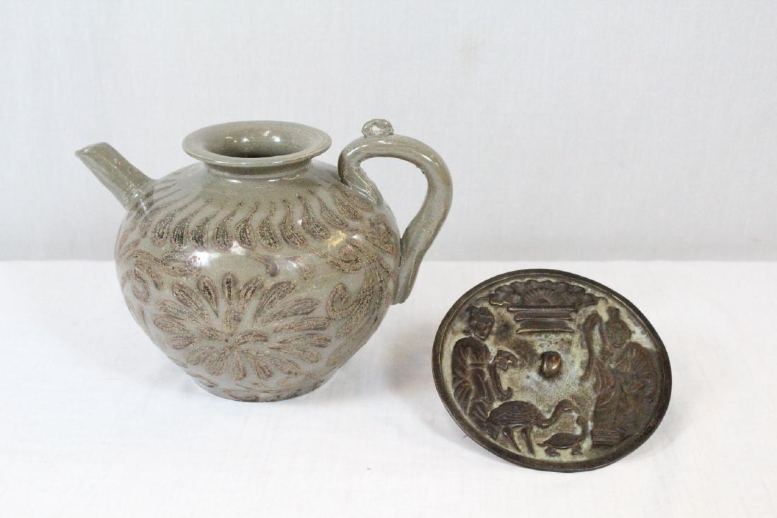 Korean porcelain teapot & Korean bronze mirror
