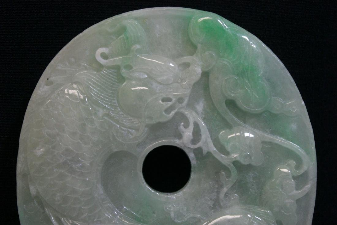 A large Chinese apple green jadeite carved pei - 2