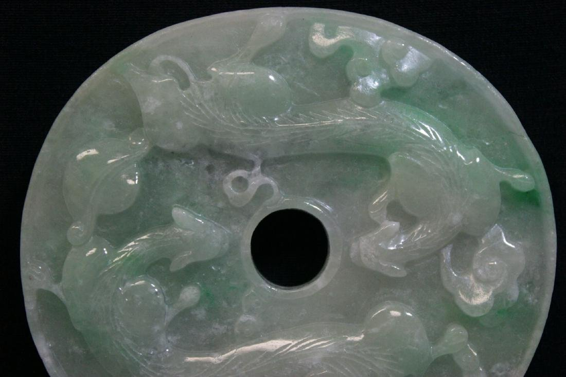 A large Chinese apple green jadeite carved pei - 6