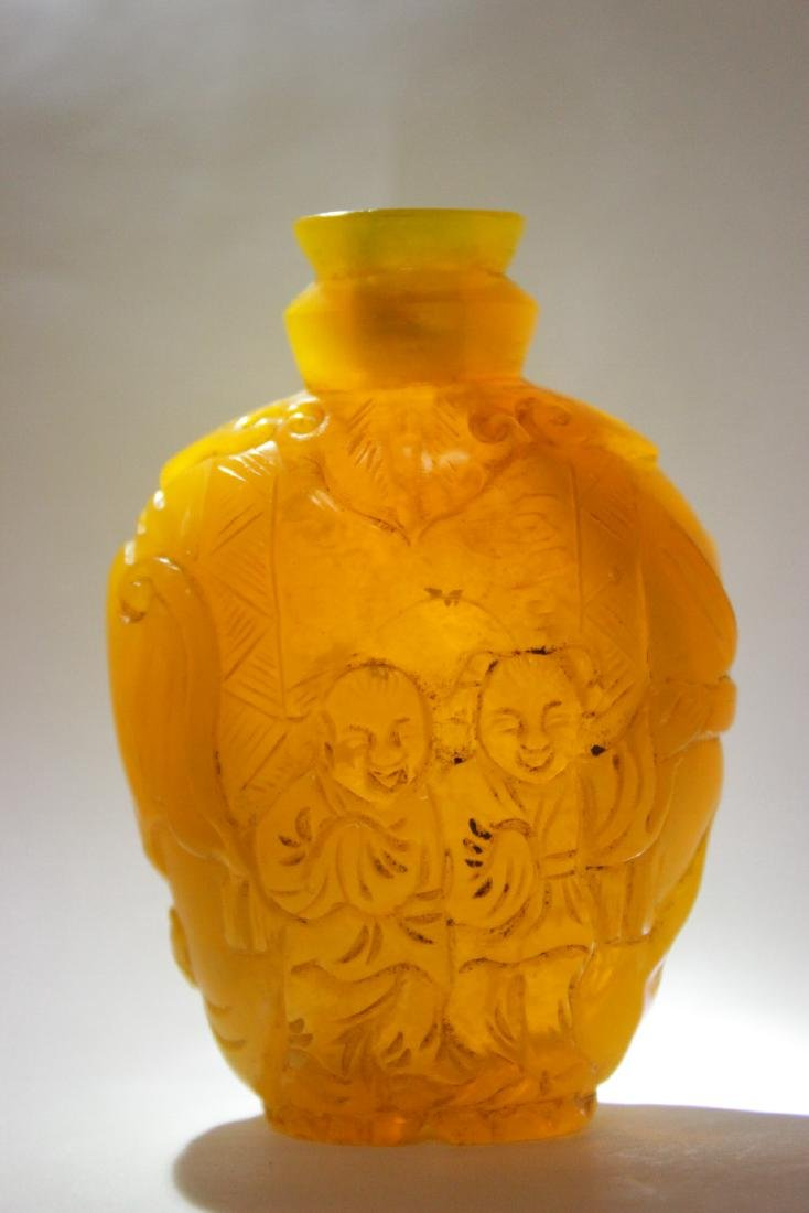 A beautiful yellow Peking glass snuff bottle - 9