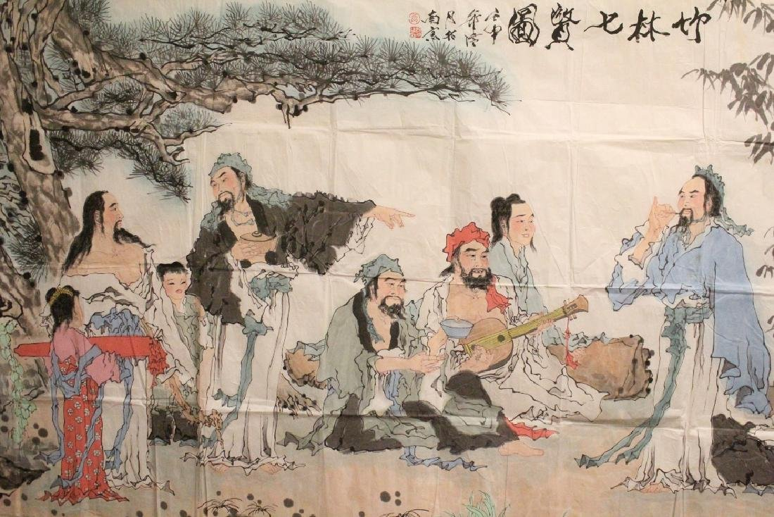 A large Chinese watercolor on rice paper - 10