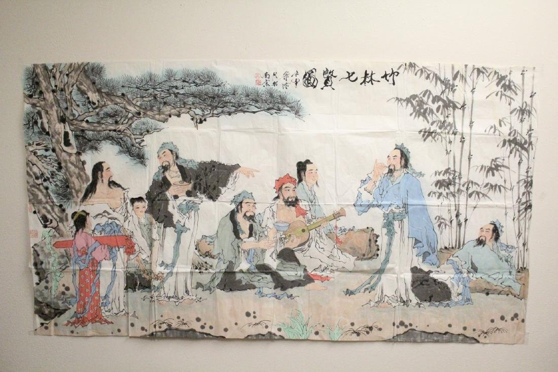 A large Chinese watercolor on rice paper